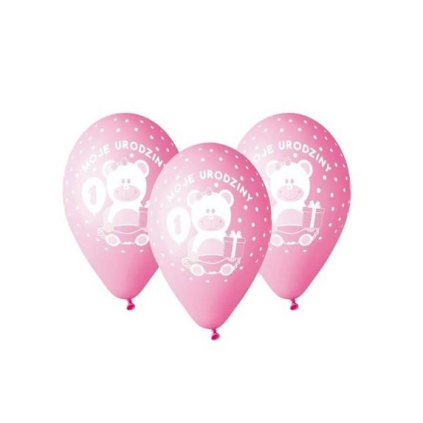 """Balony pastelowe """"Moje 1 urodziny z misiem"""" różowe 12cali 30cm 5szt"""
