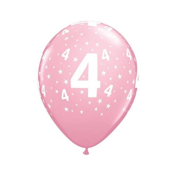 Balony pastelowe na 4 urodziny jasnoróżowe 12cali 30cm 6szt