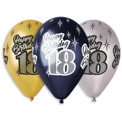 """Balony Premium """"Happy Birthday 18"""" 12 cali, 6 szt"""