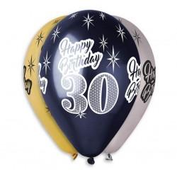 """Balony Premium """"Happy Birthday 30"""" 12 cali 6 szt"""