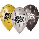 """Balony Premium """"W dniu urodzin""""  metaliczne 30cm 6szt"""
