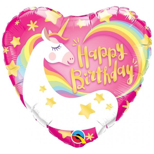 """Balon foliowy Jednorożec """"Happy Birthday"""" 46cm"""