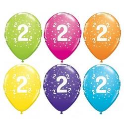 Balony 2 na drugie urodziny pastel mix kolorów 6 szt