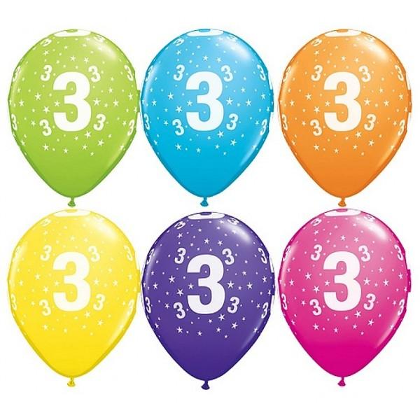 Balony 3 na trzecie urodziny pastel mix kolorów 6 szt