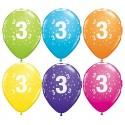 Balony 3 na trzecie urodziny pastel mix kolorów 11 cali 6 szt