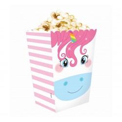 """Pudełko na popcorn lub przekąski """"Tęczowy Jednorożec"""" 4 szt"""