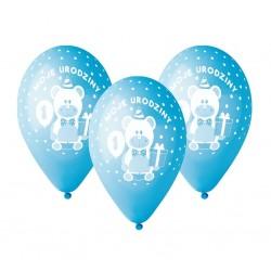 """Balony dla chłopca """"Moje 1 Urodziny"""" niebieskie 12cali 30cm 5szt"""