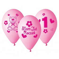 """Balony dla dziewczynki """"Mam już Roczek"""" 12cali 30cm 5szt"""