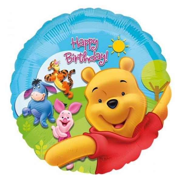 Balon foliowy Happy Birthday Kubuś Puchatek 43 cm