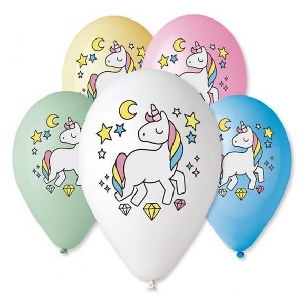 """Balony Premium """"Jednorożec - Magiczna noc""""12 cali, 5 szt"""