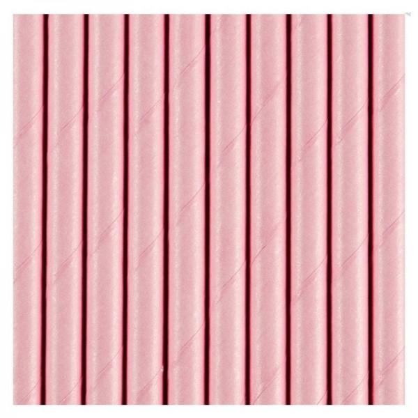 Słomki papierowe różowe 10 szt