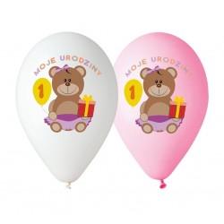 """Balony różowe """"Moje 1 urodziny"""" 12 cali 30 cm 5 szt"""