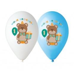 """Balony niebieskie """"Moje 1 Urodziny"""" 12cali 30cm 5szt"""