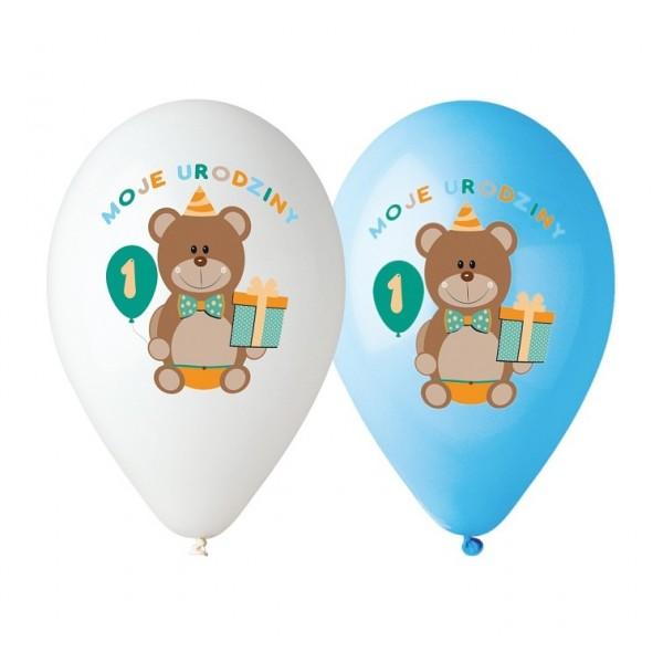 """Balony """"Moje 1 urodziny"""" 12 cali,30 cm, 5 szt"""