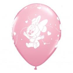 Balony pastelowe Mała Myszka Minnie jasnoróżowe 12cali 30cm 6szt