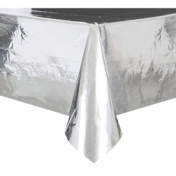 Obrus foliowy srebrny  metaliczny 137x274cm