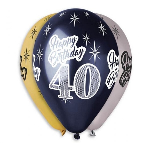 "Balony Premium ""Happy Birthday 40"" 12 cali, 6 szt"