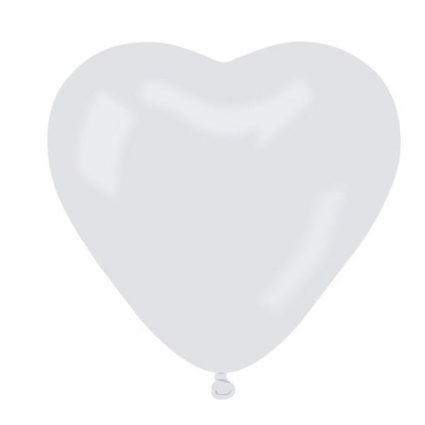 Balony pastelowe Serca białe 10cali 25cm 50szt