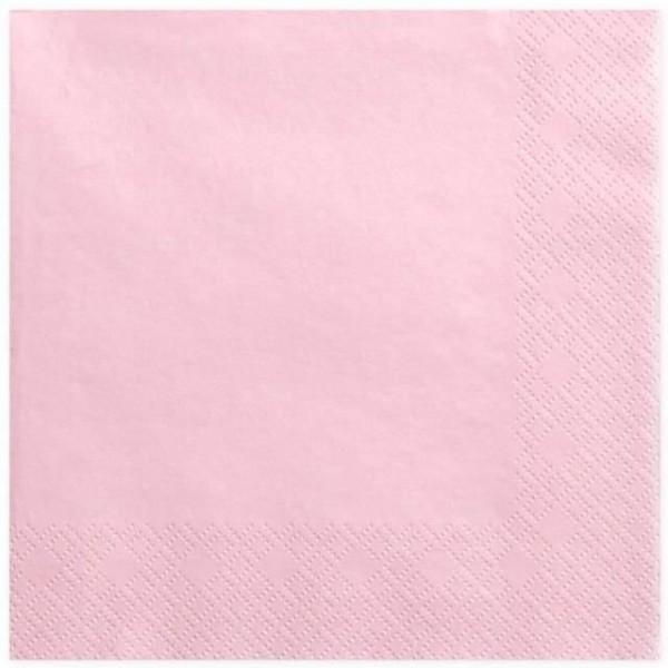 Serwetki trójwarstwowe różowe 33x33 cm, 20 szt