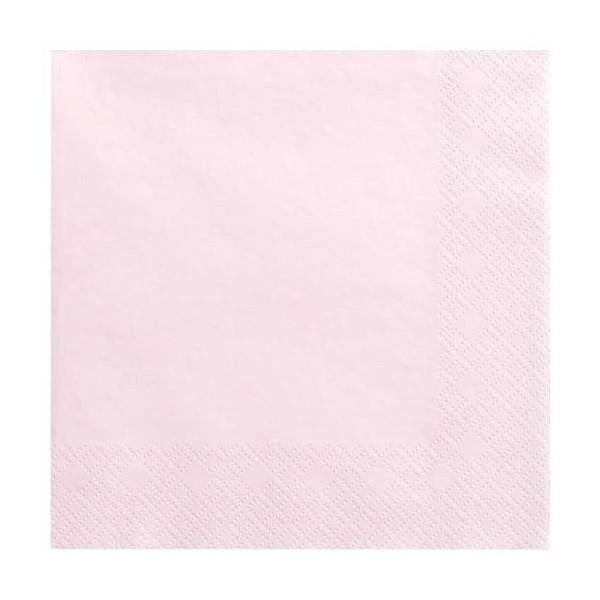 Serwetki trójwarstwowe jasny różowy 33x33 cm, 20 szt