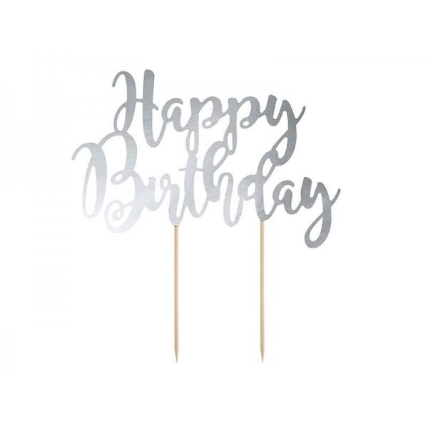 Topper na tort Happy Birthday srebrny 22,5 cm
