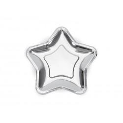 Talerzyki gwiazdka srebrna 18 cm, 6 szt