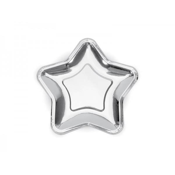 Talerzyki papierowe Gwiazdka srebrne 18cm 6szt
