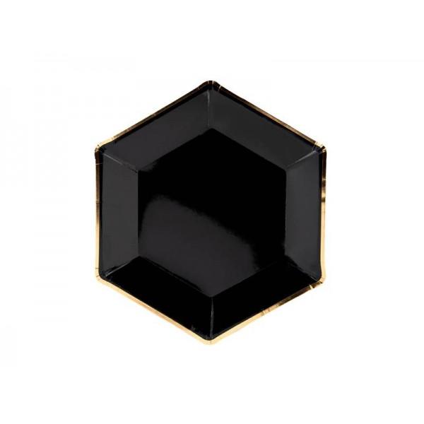 Talerzyki czarne 23 cm, 6 szt