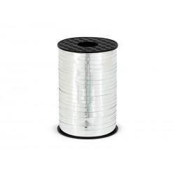 Wstążka plastikowa metalizowana srebrna 5 mm, 225 m