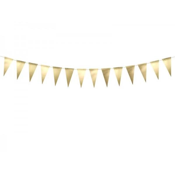 Girlanda papierowa flagietki złote 13 cm 2.15 m