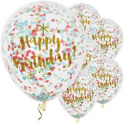 Balony transparentne Happy Birthday konfetti 12cali 30cm 6szt