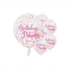 Balony transparentne Birthday Princess konfetti 12cali 30cm 6szt