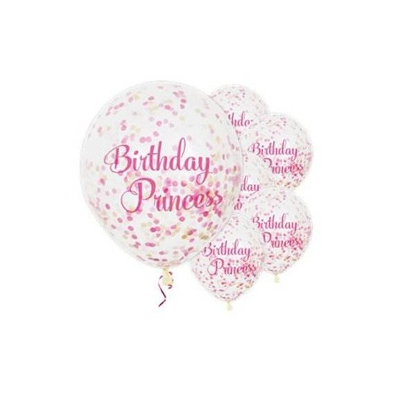 Balony Birthday Princess 12cali 30cm 6szt