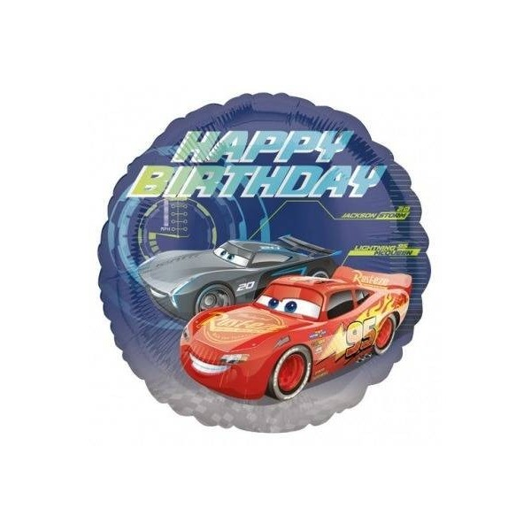 BALON FOLIOWY CARS-AUTA HAPPY BIRTHDAY 43 CM