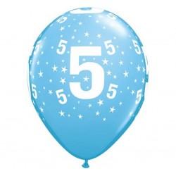 Balony na 5 urodziny niebieskie 30cm 6szt