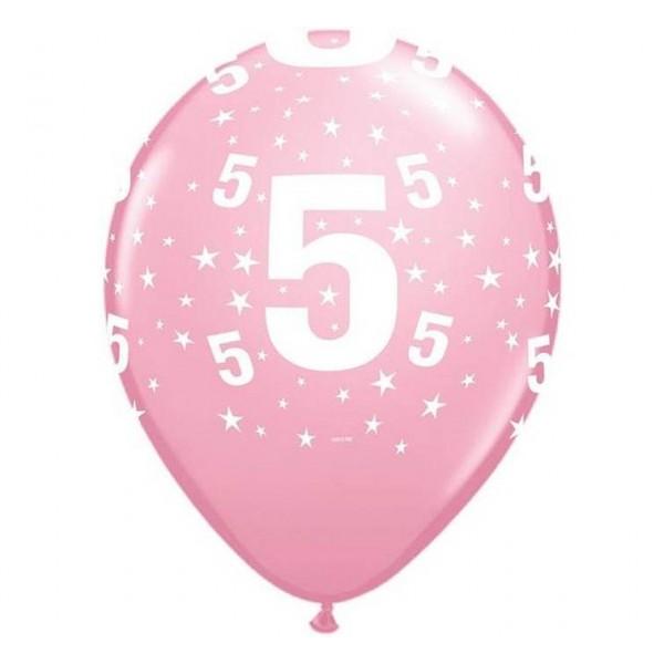 Balony na 5 urodziny jasnoróżowe 30cm 6szt