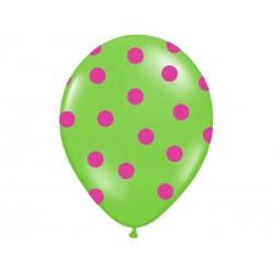 Balon zielony w różowe kropki 30 cm 1 szt