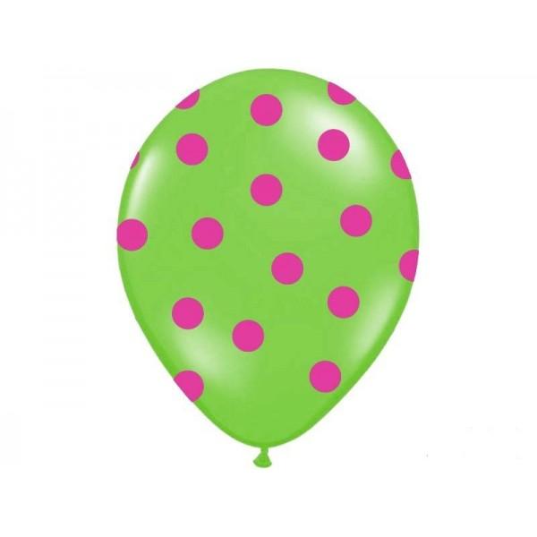 Balon pastelowy zielony w różowe kropki 12cali 30cm 1szt