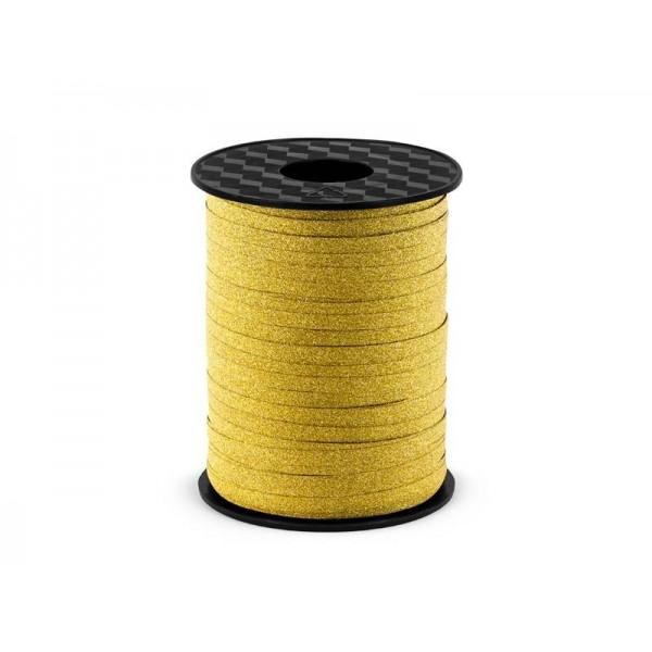Wstążka plastikowa złota brokatowa 5 mm/225 m
