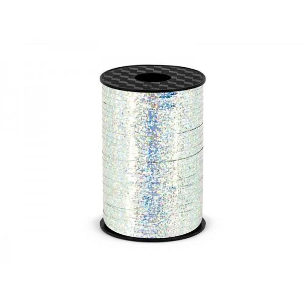 Wstążka plastikowa holograficzna srebrna 5 mm/225 m