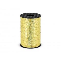 Wstążka plastikowa holograficzna złota 5 mm/225 m