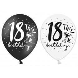 Balony na 18 urodziny czarne i białe 12cali 30cm 6szt Strong