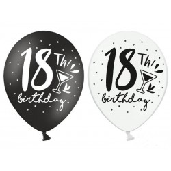 Balony na 18 urodziny czarne i białe 30 cm 6 szt
