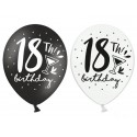 Balony 18 urodziny czarne i białe 12cali 30cm 6szt Strong