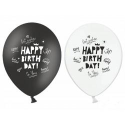 Balony Happy Birthday czarne i białe 12cali 30cm 6szt
