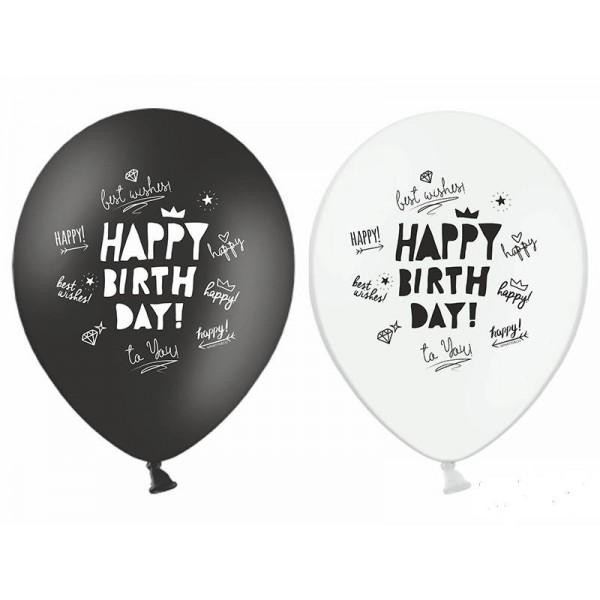 Balony Happy Birthday czarne, białe 30 cm 6 szt
