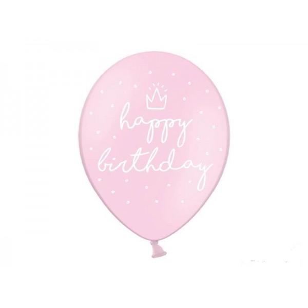 Balony pastelowe Happy Birthday jasnoróżowe 12cali 30cm 6szt