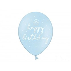Balony Happy Birthday niebieskie 30 cm 6 szt