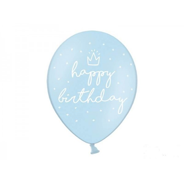 Balony pastelowe Happy Birthday błękitne 12cali 30cm 6szt