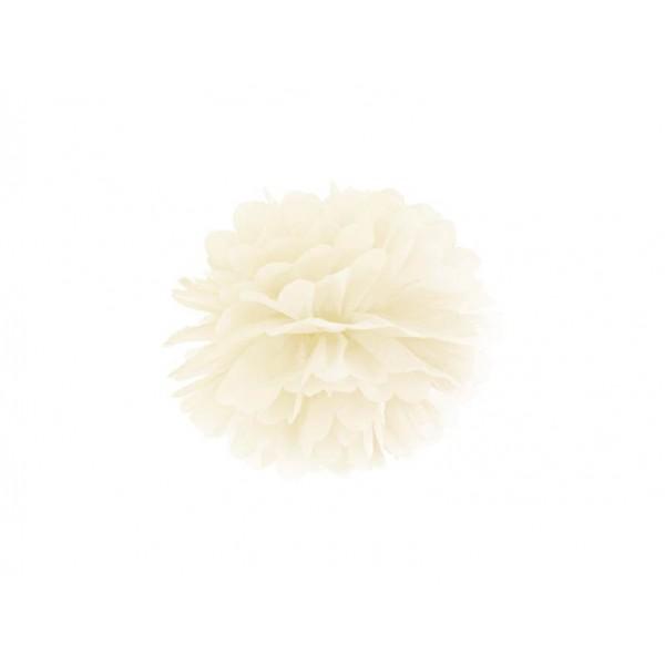Pompon bibułowy 25 cm kremowy